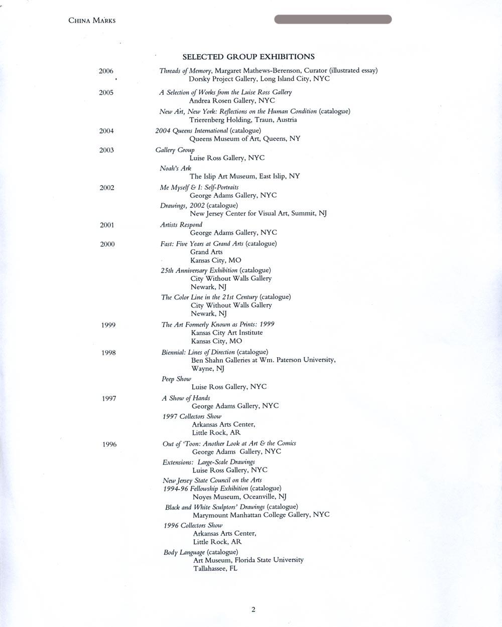 China Mark's Resume, pg 2